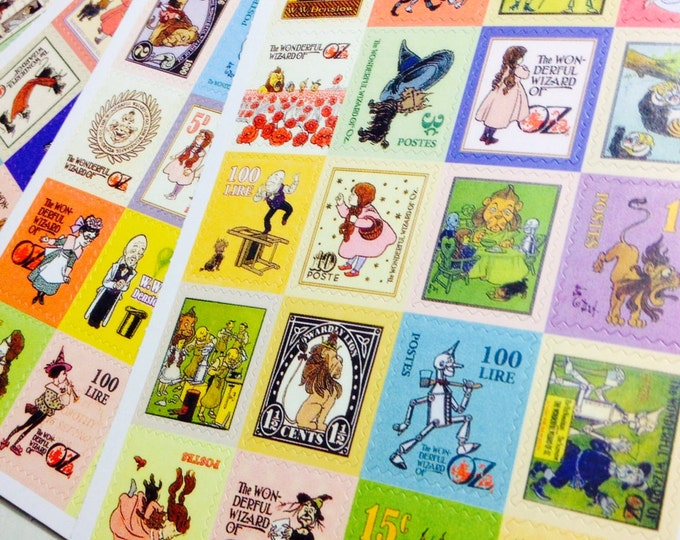 80pcs WIZARD of OZ STICKERS Book Illustrations Vintage Style Stamps Seals Labels Gift Wrap Scrapbooking Stamp Stickers Lot