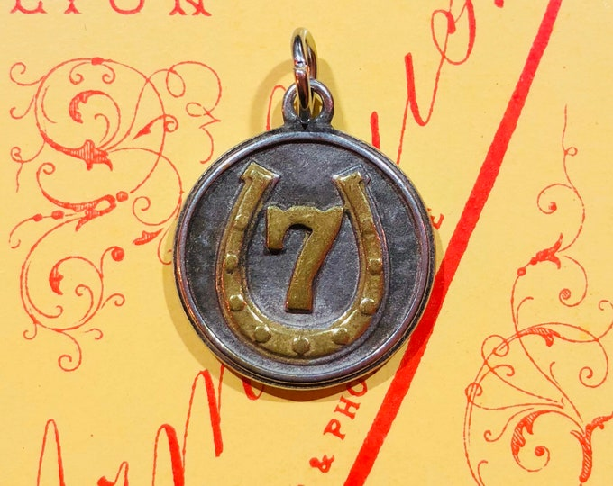 LUCKY 7 CHARM Industrial Vintage Good Luck Amulet