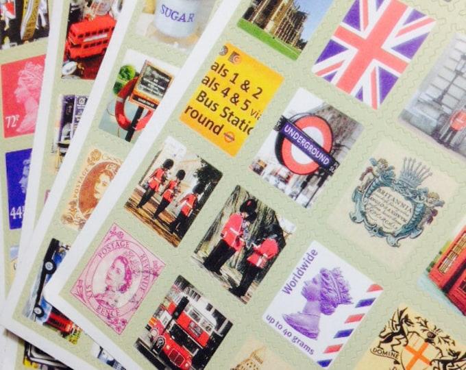 80pcs BRITISH STICKER PACK Stamp Shaped Seals