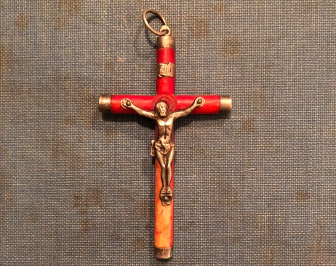 ANTIQUE BONE CRUCIFIX Dyed Bovine Cross Old Silver Vintage Religious French Catholic Pendant
