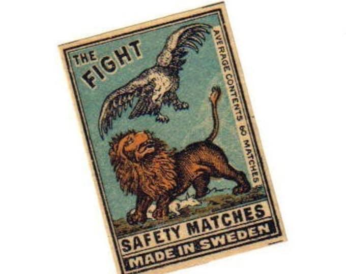 20s Antique THE FIGHT Matchbox Label