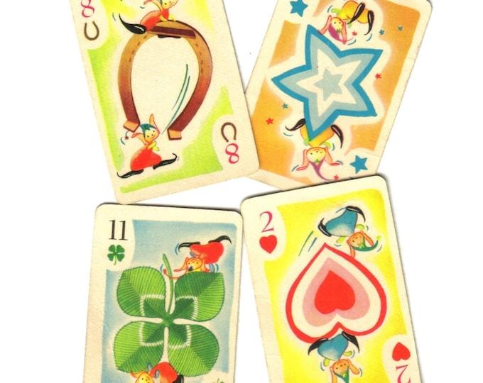 8pcs VINTAGE ELF CARDS Whimsical Retro Paper Ephemera Junk Journal Supplies Game Pieces Single Cards Lot