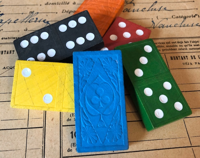 6pcs VINTAGE COLORFUL DOMINOES Vibrant Painted Wood + Intricate Design Unique Game Pieces Assemblage Altered Art Embellishments Lot
