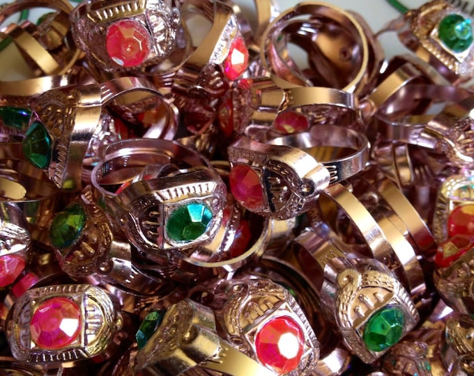 10pcs FANCY TOY RINGS Vintage Metal Victorian Style