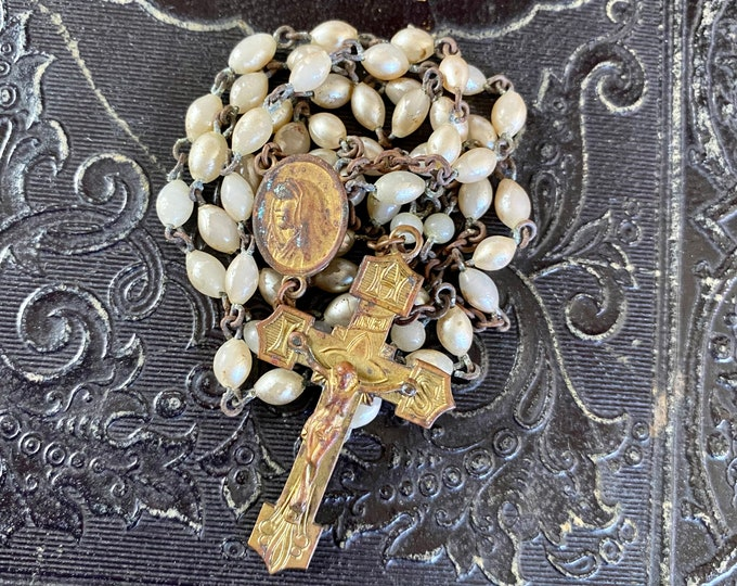 """ANTIQUE GLASS ROSARY Vintage Pearl Color Beads Some Chipped Golden Crucifix Complete 17"""""""
