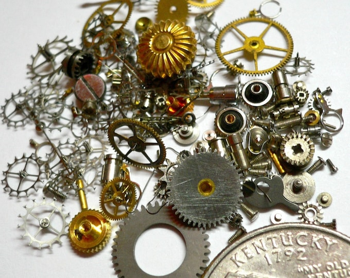TINY WATCH PARTS 7g Vintage Gears Salvage Steampunk Supplies
