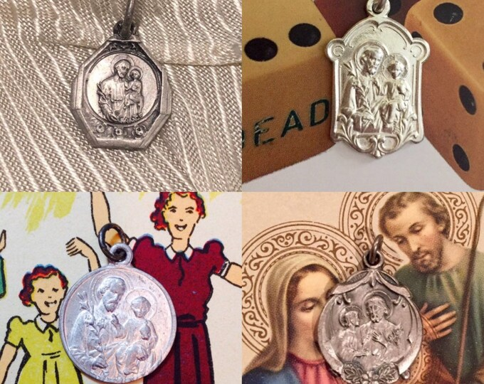 1pc SAINT JOSEPH MEDALLION Vintage Religious Medals Old Catholic Charms St. Joseph Pendants Jewelry Gorgeous Your Choice