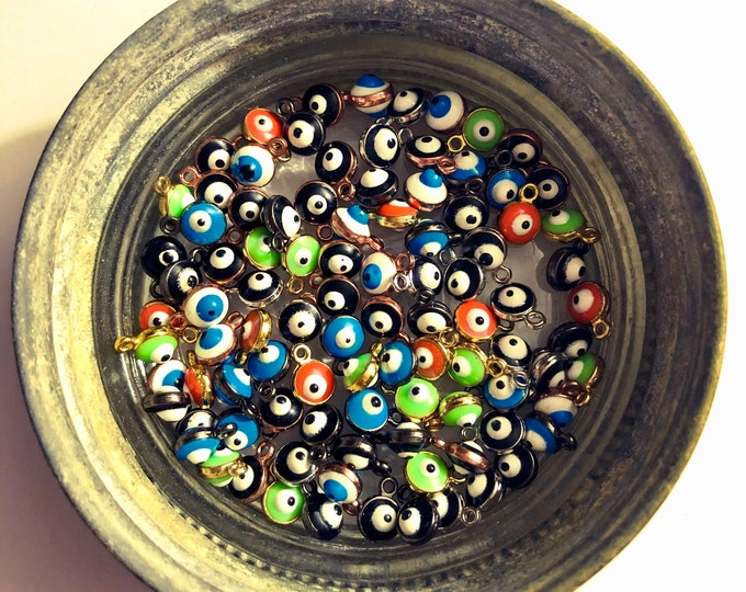 10pcs EVIL EYE CHARMS Handcrafted Enamel & Metal Tiny Evil Eyes Miniature Evil Eye Jewelry Drops Double-Sided Evil Eyes Lot