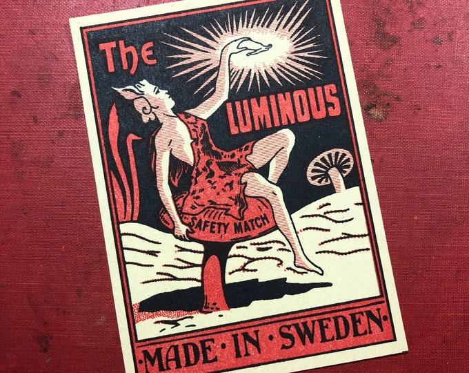1pc THE LUMINOUS LABEL Antique Large Match Box Label Swedish Paper Ephemera Elf on Mushroom