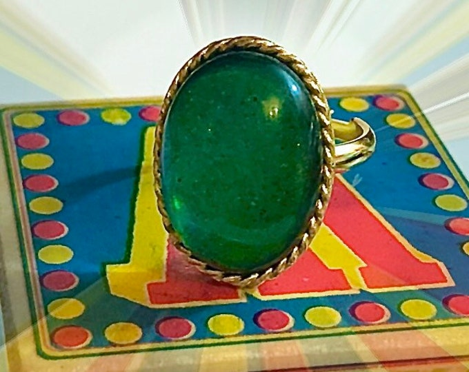 VINTAGE MOOD RING Silver Twist Setting Adjustable Band Delightful Hippie Relic Color Changing Jewelry