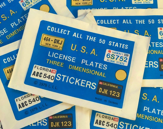 3pcs LICENSE PLATE STICKERS 1979 Mystery Puffy Sticker Mystery Pack Retro Party Favors Vending Prize Vintage Gumball Toy Lot