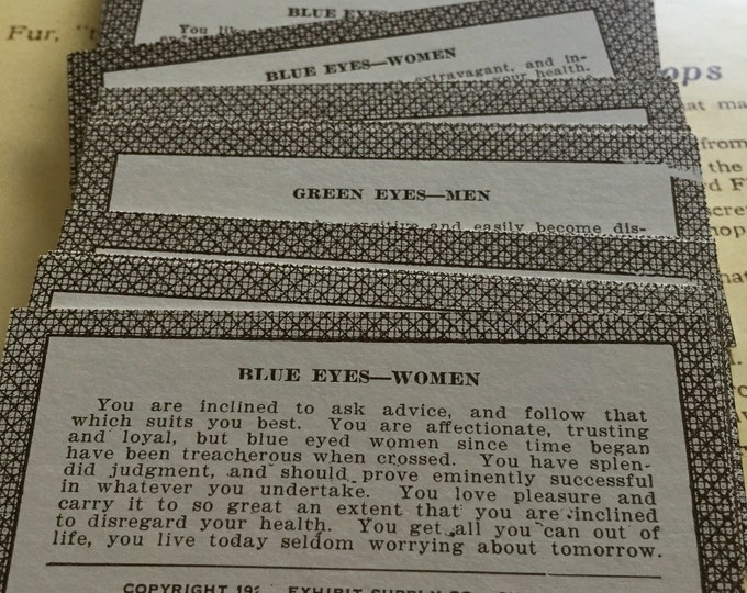 3pcs EYECOLOR OF LOVER Antique Vintage Paper Ephemera Arcade Fortunes