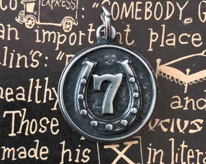 LUCKY 7 CHARM Lucky Taliaman Industrial Vintage Good Luck Amulet Luck Medallion Lucky Charm