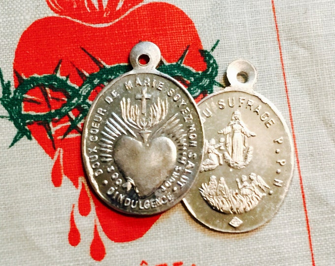 2pcs TINY INDULGENCE MEDALLIONS Antique Vintage Religious Our Lady of Suffrage