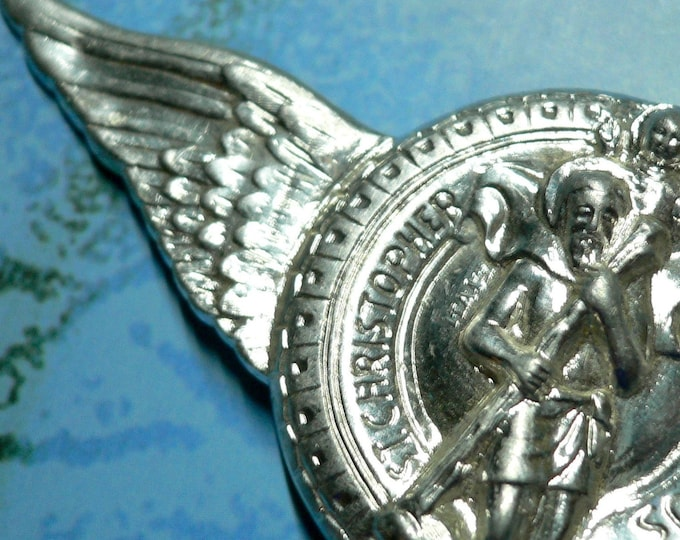 ST. CHRISTOPHER WINGS Vintage Religious Car Travel Amulet