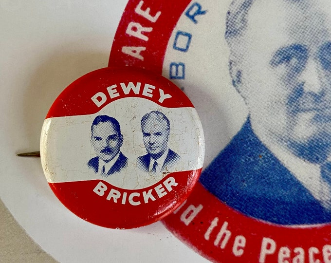 1944 POLITICAL CAMPAIGN BUTTON Dewey and Bricker Tin Litho Vintage 1970s Repro Pin Back