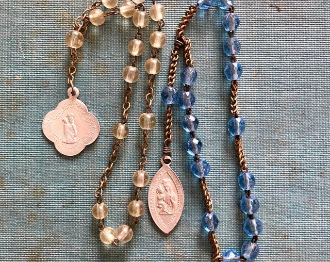 2pcs VINTAGE GLASS CHAPLETS Saint Anne de Beaupre Jesus Marie Anne Religious Medallions Catholic Pendants Rosaries Aluminum Medals