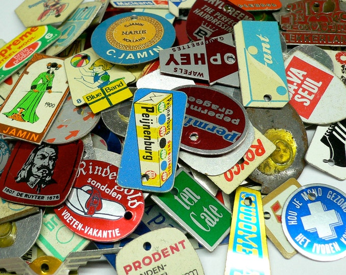 10pcs TINY ADVERTISING CHARMS 1960s-70s Vintage Dutch Retro Tin