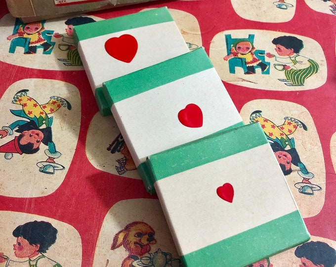 1pkg DENNISON VALENTINE SEALS Vintage Gummed Labels Tiny Hearts Original Box Miniature Stickers Labels V8548