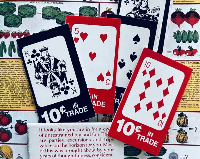 6pcs VINTAGE FORTUNE CARDS Playing Card Trade Style Elaborate Messages Five & Dime Exhibit Machine Prize Lot