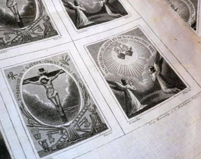 2pcs SCAPULAR CLOTH SQUARES 1860s Passion of Jesus