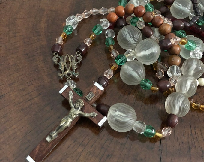 VINTAGE LONG ROSARY Glass & Seeds Wood Aged Metal Super Long Handmade Kitchen Sink Non-Traditional Old Rosaries Italian Crucifix 113""