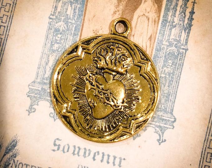 1pc SACRED HEART MEDALLION Sacre Coeur Religious 300 Indulgences Gold