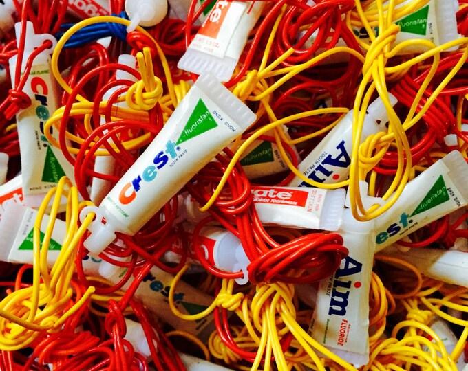 10pcs MINIATURE TOOTHPASTE CHARMS Vintage Plastic Charms Aim Colgate Crest Dental Dentist Prize Necklaces Lot