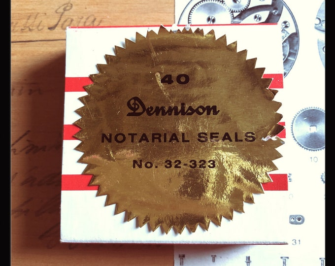 1pkg VINTAGE DENNISON SEALS Notarial Gummed Gold Foil Metallic Seals Original Box Notary Labels Stickers Full Box 32-323