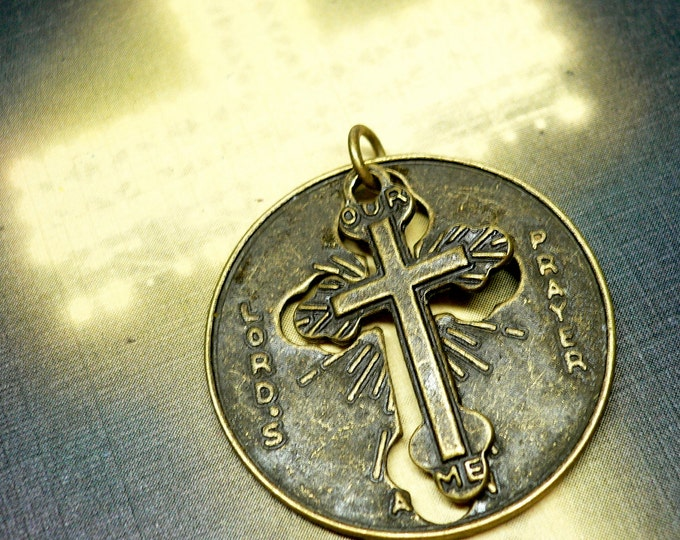 LORD'S PRAYER MEDALLION Inspired Vintage Religious Medal Two Part Char