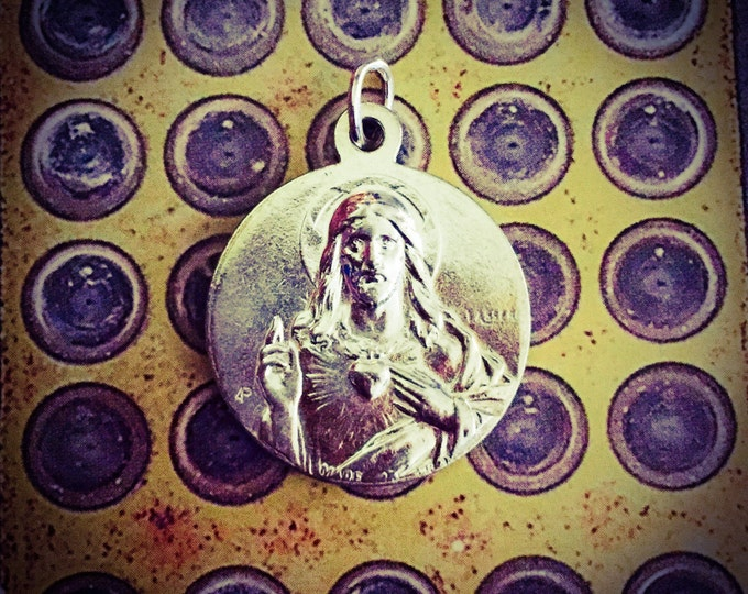 FRENCH FATIMA MEDAL Heavy Vintage Religious Silver Plate Sacred Heart France Signed Lasserre & Adolphe Penin
