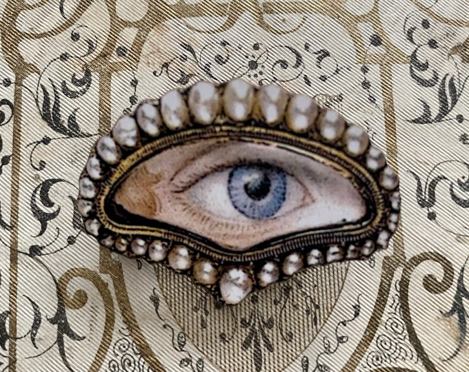 FAUX LOVER'S EYE Wooden + Papered Brooch Modern Remake Victorian Type Georgian Style Pin Costume Jewelry Repro Crescent Pearl Image