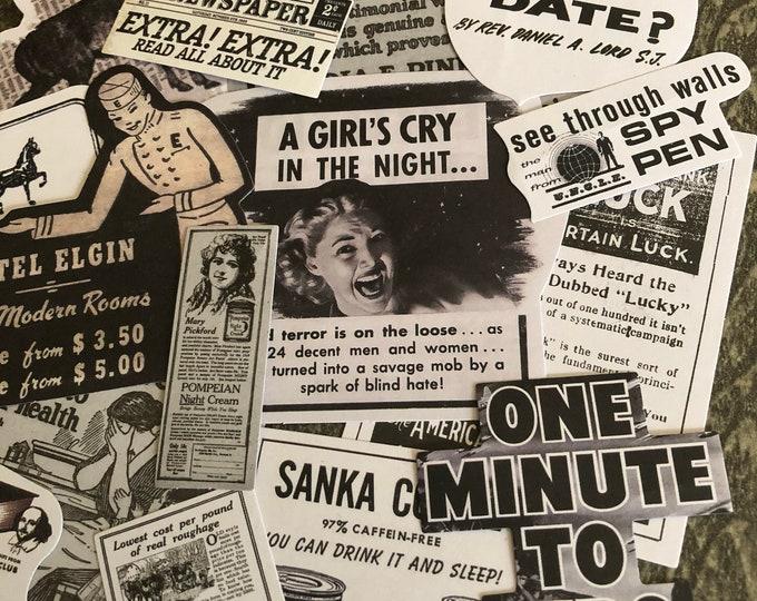 15pcs VINTAGE ADVERTISEMENT STICKERS Newspaper Retro Women Interest