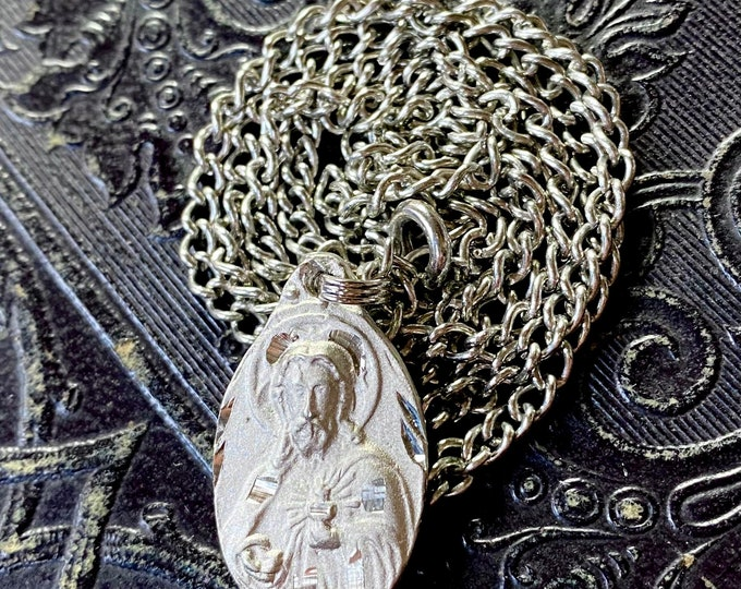 VINTAGE SCAPULAR MEDALLION 10K Religious Medal Sacred Heart of Jesus Virgo Carmel Catholic Jewelry Gift Pendant Gold Filled