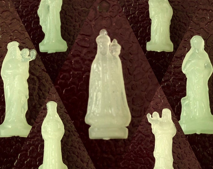 1pc VINTAGE POCKET STATUES Luminous Tiny Vintage Pocket Statue Miniature Shrine Virgin Mary Our Lady Various Religious Statuettes France