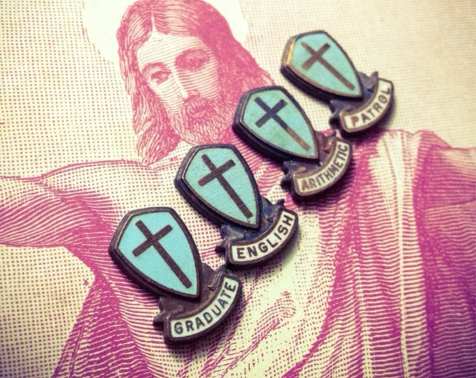 4pcs CATHOLIC SCHOOL PINS Tiny Vintage Religious Medallions Arithmetic English Patrol Graduate