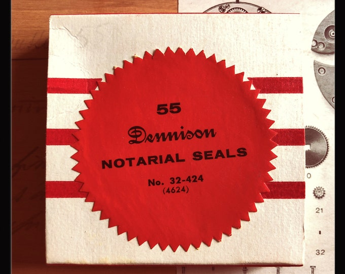 1pkg VINTAGE DENNISON SEALS Legal Gummed Large Red Notarial Seals Original Box Notary Labels Stickers Full Box 32-424