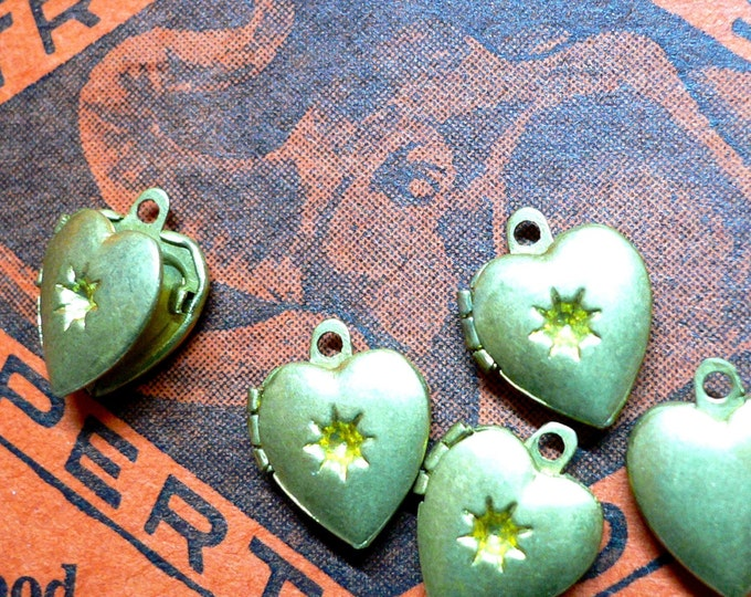 5pcs HEART VINTAGE LOCKETS Tiny Warm Brass Starburst Centers Charms Pendants Jewelry Findings Lockets Lot