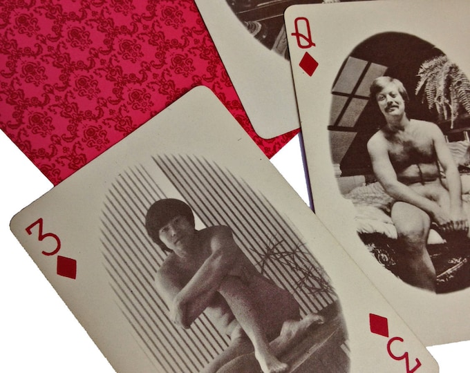4pcs CHEESY MALE NUDES 1970s Vintage Single Playing Cards Mature