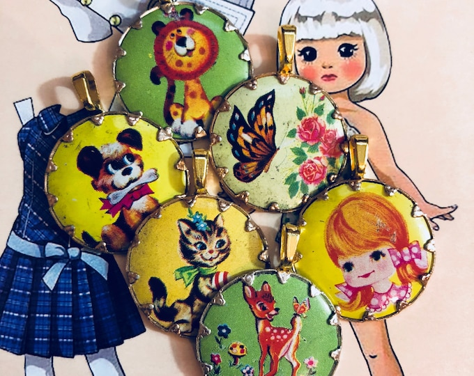 1pc VINTAGE KITSCH CHARM Painted Metal Pendant Deer Dog Cat Lion Girl Butterfly Your Pick