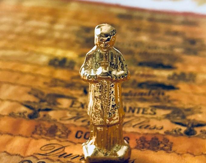 CURE D'ARS STATUE Vintage Tiny Pocket Statue Shrine St. John Vianney Cure D'Ars France