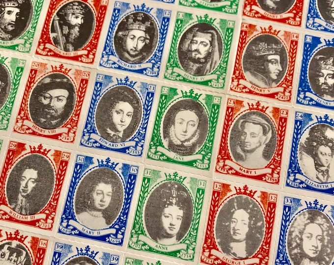 42pcs ENGLISH ROYALTY STAMPS Vintage Gummed Labels Queens & Kings Since 1066 A.D. Perforated Sticker Pack Stationery Mail Art Ephemera Lot