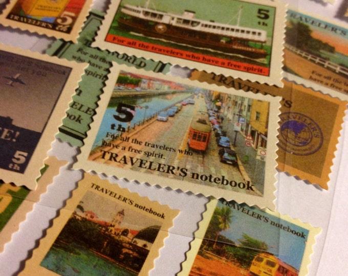 18pcs NOSTALGIC TRAVEL STICKERS Set Postage Stamp Style