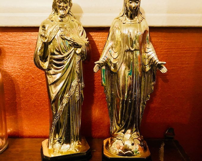 VINTAGE RELIGIOUS STATUES Golden Plastic Sacred Heart of Jesus & Virgin Mary Old Catholic Statuettes Shrine Figurines Altar Supply