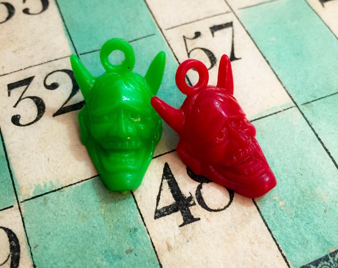 3pcs VINTAGE DEVIL CHARM Diabolical Plastic Japanese Hannya