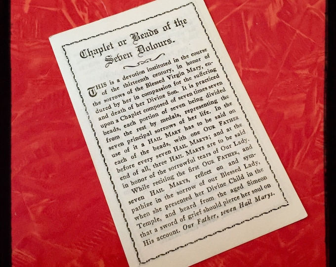 WWI SORROWS PAMPHLET Antique Vintage Religious Chaplet or Beads of the Seven Dolours Sorrows Prayer Card