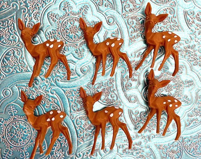 6pcs VINTAGE DEER MINIATURES European Tiny Doe Hand Painted Spots Holiday Crafting Christmas Miniatures Lot