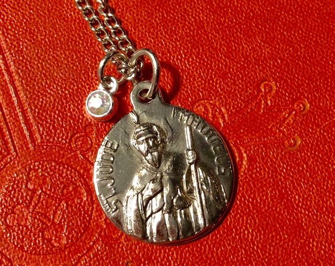 "SAINT JUDE NECKLACE Vintage Religious Medallion Tiny Crystal Drop Patron Saint of Impossible Situations Steel With 26"" Chain"