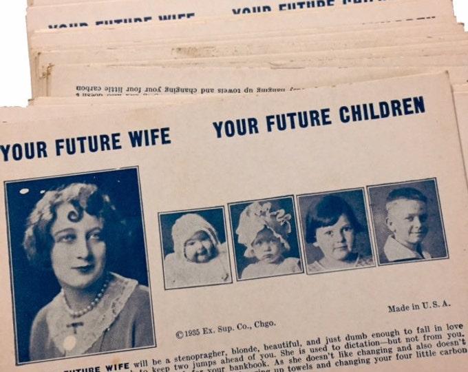 2pcs FUTURE WIFE FORTUNE Antique Arcade Cards