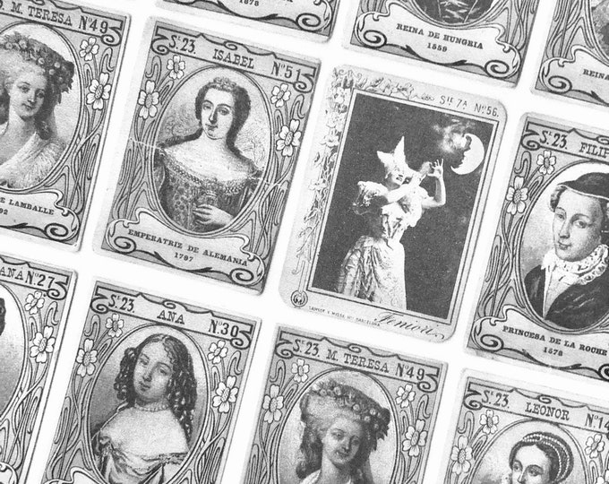 16pcs EUROPEAN ROYALTY STICKERS Antique Royals & Victorian Celebrities Stars Spanish Tobacco Trade Cards Altered Art Vintage Labels Seals